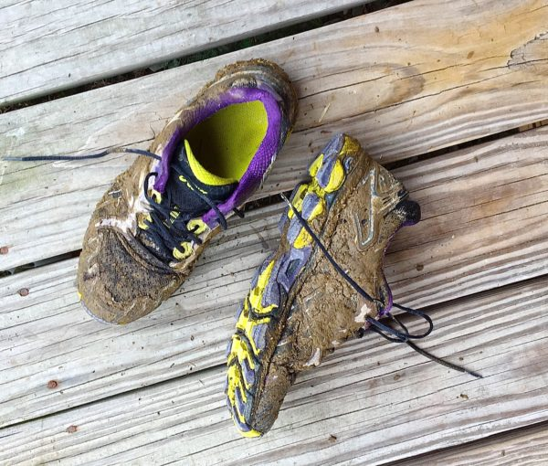 Nothing says muddy-fashion accessory better than a pair of sneakers coated in St. John Valley potato field mud, compliments of Mother Nature.