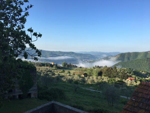 Room with a view. This is the view from the hillside villa in Tuscany, where eight members of a women's tennis team from the Ellsworth Tennis Center were headquartered during their recent trip to Italy.