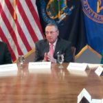 Gov. Paul LePage, center, spoke with U.S. Health and Human Services Secretary Tom Price and Kellyanne Conway, a senior adviser to President Donald Trump, as part of a round-table on the state and nation's opioid addiction crisis.
