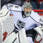 Los Angeles Kings goalie Ben Bishop (31) guards his net during the warmup period against the Calgary Flames at Scotiabank Saddledome.