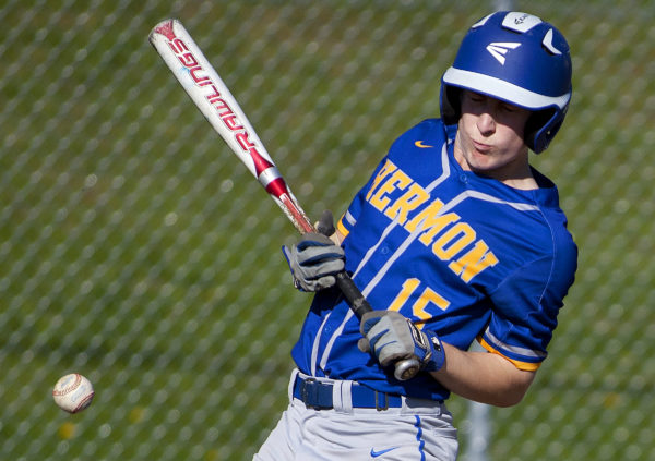 Hermon's Zach Nash reacts after being hit by a pitch from Ellsworth during their baseball game in Hermon Friday.