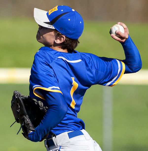 Hermon's Alex Applebee pitches to Ellsworth during their baseball game in Hermon Friday.