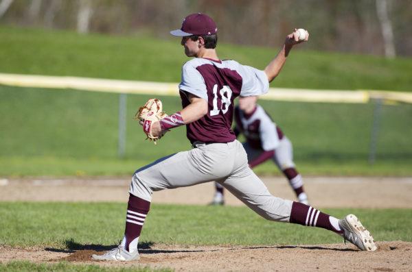 Ellsworth's Matt Burnett pitches to Hermon during their baseball game in Hermon Friday.