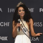 Miss USA Kara McCullough of the District of Columbia speaks during a press conference after the pageant.