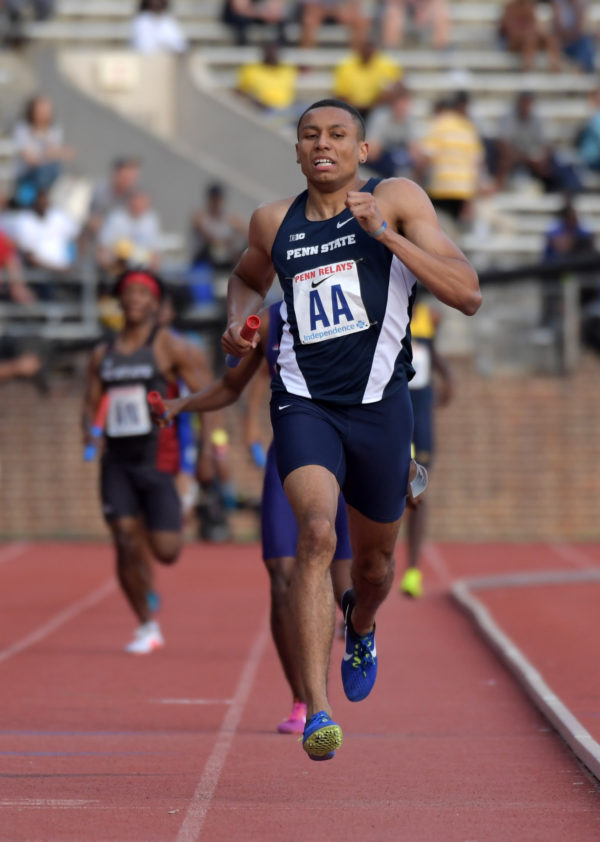 Isaiah Harris runs the anchor leg on the Penn State 1,600m sprint medley that won its Championship of America heat in 3:17.40 during the 123rd Penn Relays at Franklin Field on Apr. 28, 2017.