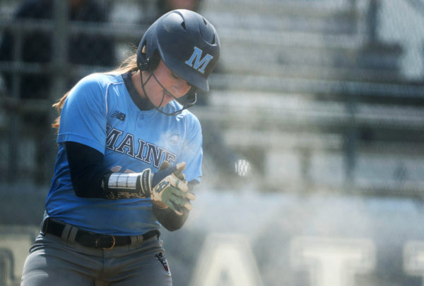 UMaine's Rachel Carlson celebrates after scoring a run against University of Massachusetts Lowell at Kessock Field in Orono in a 2016 file photo.