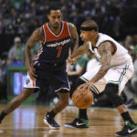 Boston Celtics guard Isaiah Thomas controls the ball as Washington Wizards guard Brandon Jennings defends during the first half in Game 7 of their Eastern Conference semifinal series at TD Garden in Boston on Monday night. Boston won 115-105.