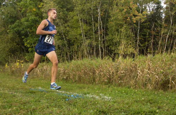 UMaine's Jesse Orach runs during a cross country meet in Orono in September 2016.