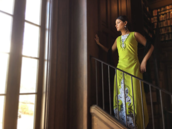 One of several couture clothing items created by Decontie and Brown. Model Dalaylun Demmons of Milford.