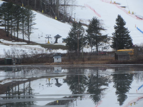 Hosmer Pond sits at the base of the Camden Snow Bowl. As part of a multi-million renovation project at the recreational ski area, the pond was polluted because of excessive excavation. The town intends to pay back the majority of those fines with the proposed project.
