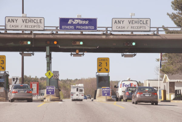 Northbound traffic at the Maine Turnpike toll plaza in West Gardiner