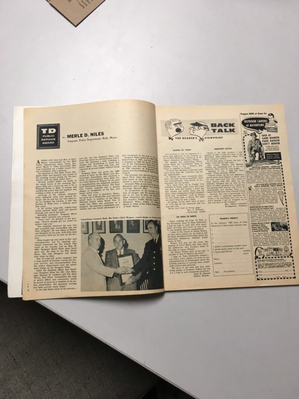 Former Bath police Sgt. Merle Niles, who was shot during a domestic dispute the night of July 15, 1960 and later died of his injuries, was profiled in this issue of True Detective magazine, which the department purchased on eBay.