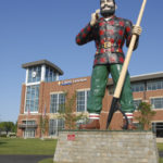 The Paul Bunyan statue in front of the Cross Insurance Center in Bangor