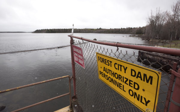 The Forest City dam on East Grand Lake. The dam's owner Woodland Pulp LLC. filed papers to surrender it's license to operate the dam and decommission the project. The decommissioning of the project could possibly result in the permanent drop in water level of East Grand Lake.