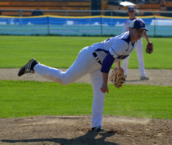 Hampden Academy starting pitcher Brandon Smith throws Thursday against Mt. Ararat in a Kennebec Valley Athletic Conference high school baseball game in Topsham. Smith put in five innings of work as the Broncos cruised to a 16-2 victory.