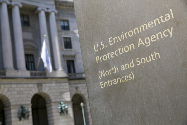 A logo sign outside of the headquarters of the United States Environmental Protection Agency on April 2, 2017 in downtown Washington, D.C.