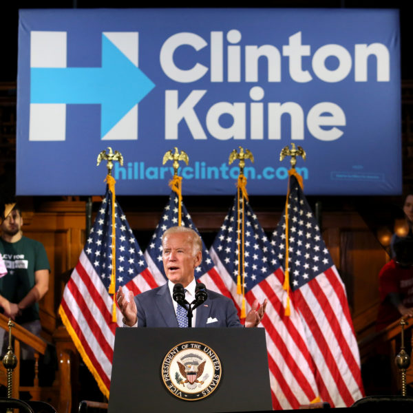 Vice President Joe Biden delivers remarks on Monday, Oct. 3, 2016, as he rallies supporters for Hillary Clinton in Orlando, Florida.