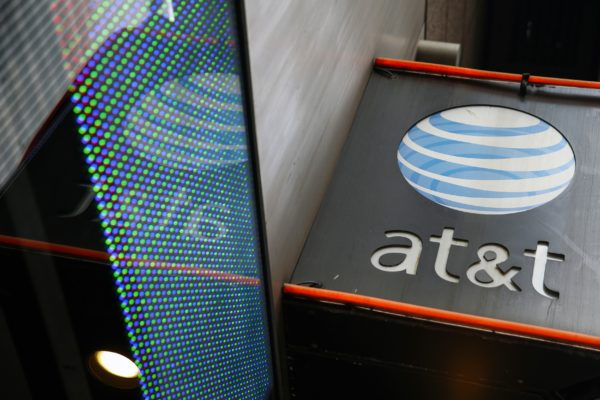The signage for an AT&T store. Employees at nine Maine stores walked off the job on Friday afternoon for a weekend-long strike.