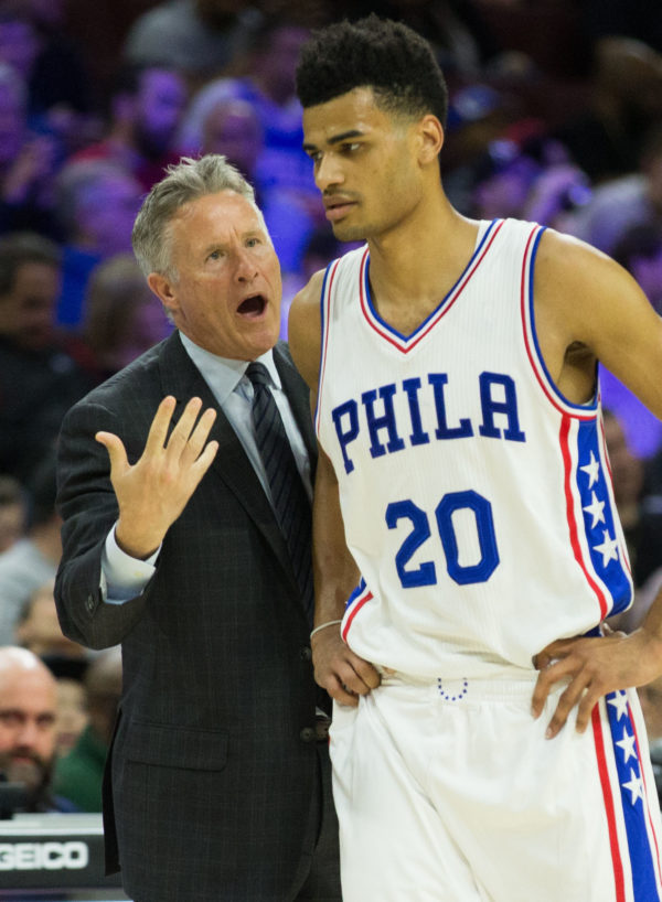 Philadelphia 76ers head coach Brett Brown talks to guard Timothe Luwawu-Cabarrot during a game against the Brooklyn Nets at Wells Fargo Center in Philadelphia on April 4. Brown is being inducted into the Maine Sports Hall of Fame on Sunday.
