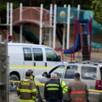 ALTON, Maine -- 05/19/2017 - Emergency responders work to reconstruct the scene where a one-year old male was fatally hit by a vehicle at Alton Elementary School Friday. Ashley L. Conti | BDN