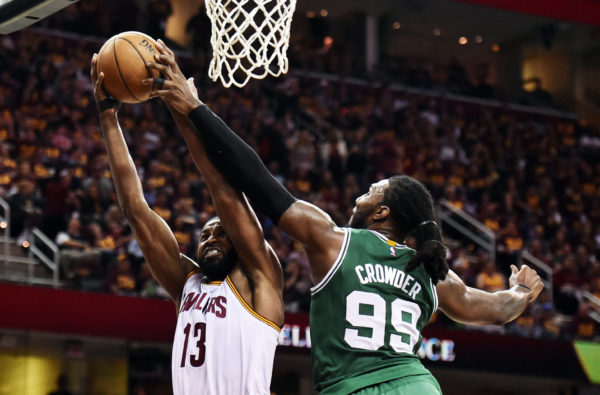 Boston Celtics forward Jae Crowder (99) defends Cleveland Cavaliers center Tristan Thompson (13) during the second half in game three of the Eastern conference finals of the NBA Playoffs at Quicken Loans Arena.