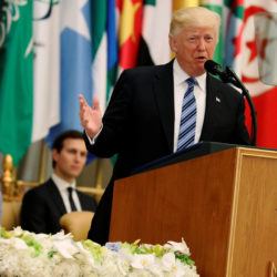 U.S. President Donald Trump, flanked by Ivanka Trump and White House senior advisor Jared Kushner, delivers remarks to the Arab Islamic American Summit in Riyadh, Saudi Arabia, May 21, 2017.