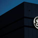 The General Electric logo is pictured on the General Electric offshore wind turbine plant in Montoir-de-Bretagne, near Saint-Nazaire, western France, Nov. 21, 2016.