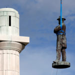 A monument of Robert E. Lee, who was a general in the Confederate Army, is removed in New Orleans, Louisiana, U.S., May 19, 2017.