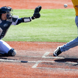 University of Maine's Christopher Bec catches during their baseball game against University at Albany at Mahaney Diamond in Orono Saturday.