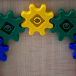 Gears on a children's toy in the waiting room at Bangor Public Health and Community Services, where WIC recipients have their appointments.