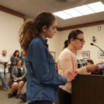 Cintia Miranda (right), a Brazilian immigrant living in Bangor, spoke at a Bangor City Council meeting on May 22 with her daughter Isabel Kidwell, 13, in support of the city helping to fund the new Maine Multicultural Center.