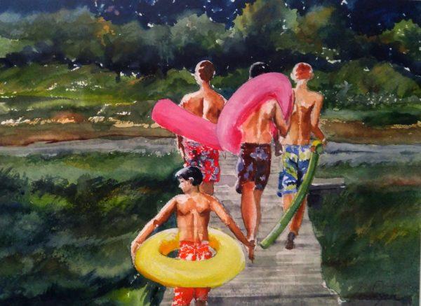Boys of Summer, watercolor, by Leslie Landrigan