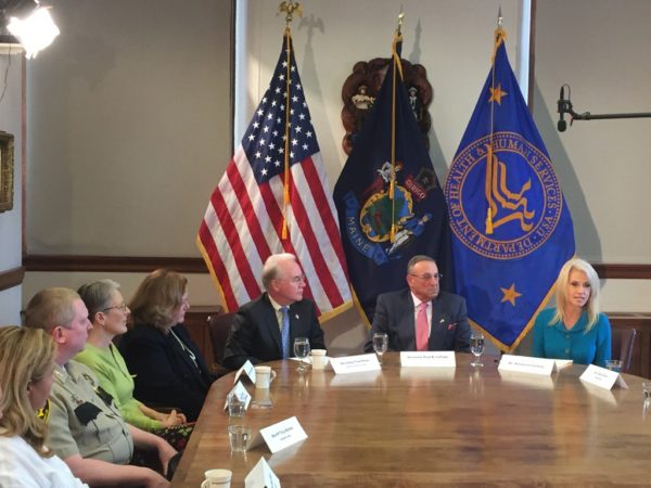 """U.S. Health and Human Services Secretary Tom Price convened a State House roundtable Wednesday by saying that one of President Donald Trump's top priorities is to """"turn the tide"""" on opiate addiction."""