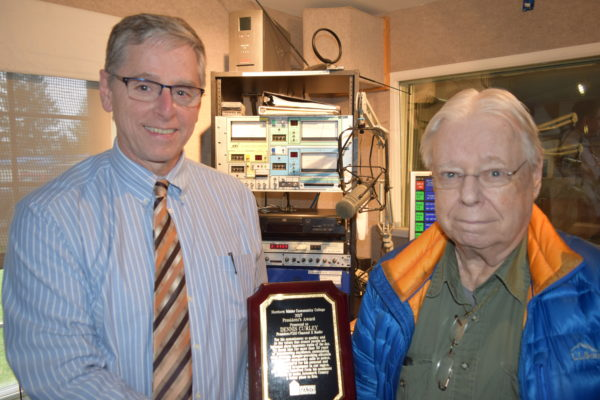 President Timothy Crowley presents the President's Award to Dennis Curley (on-air name Douglas Christensen), CEO of Channel X Radio for more than 30 years of broadcast excellence.