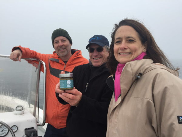 The team at Ocean's Balance with their kelp puree. From Left is CEO Mitchell Lench, president Tollef Olson and head of sales and marketing Lisa Scali.