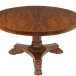 Rare English rosewood pedestal base table by Gillows of Lancaster and London, one of many fine items to be sold at Thomaston Place Auction Galleries on June 2, 3 & 4