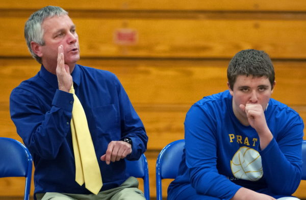MILLINOCKET, MAINE -- 12/20/2016 - Piscataquis head coach Jamie Russell (left) yells a play to his team during their basketball game against Stearns in Millinocket Tuesday. Ashley L. Conti | BDN