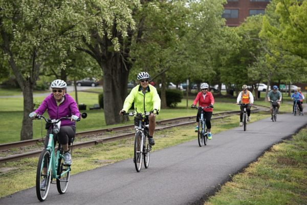 Members of the group Blazing Saddles spend an afternoon bicycling in Alexandria, Virginia, on April, 26.