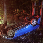 A Baldwin woman was helped from this 2013 Ford Fiesta Sunday night by a woman who lives nearby and heard the crash, which took place around 9 p.m. on Cape Road in Limington.