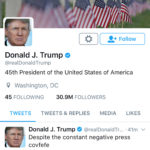 """A late night Tweet is seen from the personal Twitter account of U.S. President Donald Trump, May 31, 2017. The Tweet reads, """"Despite the constant negative press covfefe."""""""