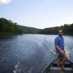 Lucas St. Clair steers a square stern canoe on the East Branch of the Penobscot River, Sept. 11, 2013.