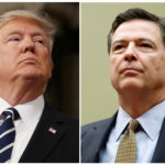 A combination photo shows U.S. President Donald Trump (L) in the House of Representatives in Washington, U.S., on February 28, 2017 and FBI Director James Comey in Washington U.S. on July 7, 2016.