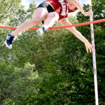 Bangor High School's Rihan Smallwood clears the bar during the pole vault at the Class A track and field state championships in Waldoboro on Saturday. Smallwood won the event with a vault of 11 feet, 7.25 inches.