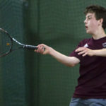 Alec Cyr of Caribou, pictured during the 2016 team tennis regionals at Hampden, has again helped lead the Vikings back to the regional title match. Tuesday's matches have been moved to indoor venues with Classes A and B set to play at the Maine Pines Racquet and Fitness Tennis Club in Brunswick and the Class C teams headed for the Armstrong Tennis Center in Hampden.