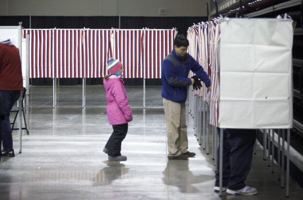 Bangor voters cast ballots at the Cross Insurance Center in a 2014 file photo.
