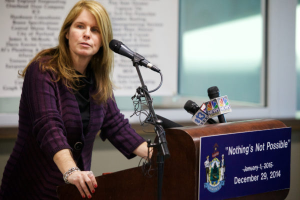 Mary Mayhew speaks at the regional home for state Department of Health and Human Services and Department of Labor offices in South Portland in 2015.