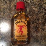 A bottle of Fireball Cinnamon Whisky