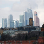 """A view shows the Kremlin wall, with the Moscow International Business Center also known as """"Moskva-City"""" seen in the background, in Moscow, Feb. 27, 2016."""