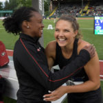 Kate Hall (right) and Keturah Orji of George celebrate after placing first and second in the women's long jump during the NCAA Track and Field Championships at Hayward Field.