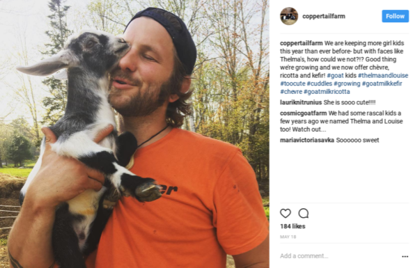 A recent post on Copper Tail Farm's Instagram shows Jon McKee snuggling with one of the farm's goats.